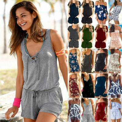 AU18.23 • Buy Women Summer Mini Playsuit Romper Beach Holiday Casual Loose Shorts Jumpsuits