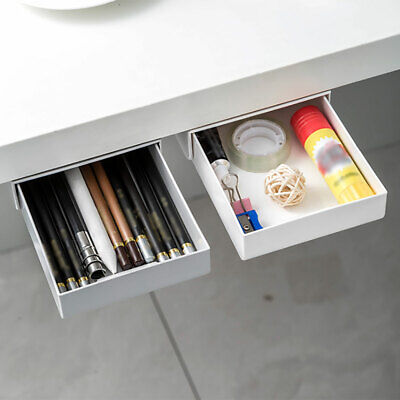 AU16.99 • Buy Self-adhesive Under Table Storage Boxes Hidden Drawer Organiser Box Desk Drawer