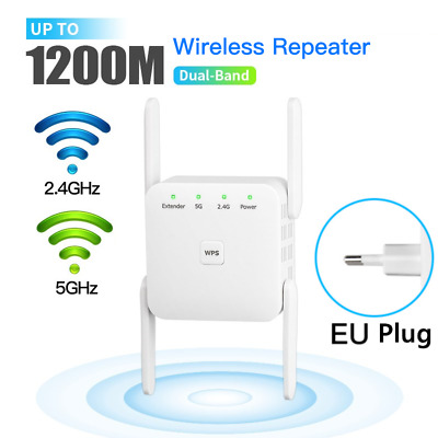 AU31.39 • Buy 1200Mbps Wireless Signal Repeater 2.4G/5Ghz WiFi Range Extender Internet Booster