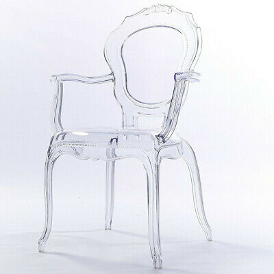 Belle Transparent Ghost Ornate Acrylic Dining Accent Dressing Table Chairs X 4 • 179.99£