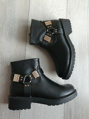 £20 • Buy London Rebel Wide Fit Ankle Hardware Boots In Black Size 6