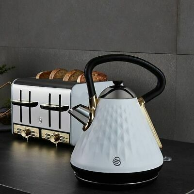 £109.95 • Buy Swan Gatsby Kettle And 4 Slice Toaster Set White & Gold