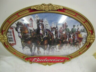 $ CDN100.65 • Buy Budweiser Beer Clydesdale Oval Large Picture Team Horses  Winter Christmas 2000