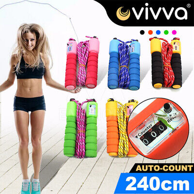 AU9.93 • Buy Quality Skipping Rope With Counter Gym Home Exercise Fitness 2.4m Adult Kids AU