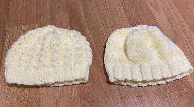 Hand Knitted 2 Pack Of Prem Baby Hats • 3£