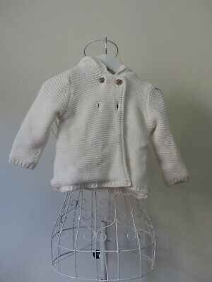 AU12 • Buy Size 0.  Target  Toddler White Knitted Hooded Jacket. Great Condition. Bargain.