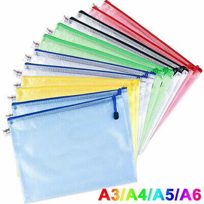 £12.01 • Buy Plastic Zip File Bags Storage Document Folder Protective Wallet Pocket A4/A5/A6