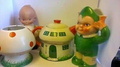 Rare,Shelley Mabel Lucie Atwell Elfin Tea Set Reduced By 125 GBP As Doll Is Sold • 225£