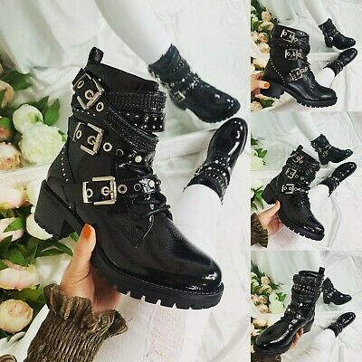 £20.99 • Buy Womens Ladies Zip Ankle Biker Boots Studded Winter Fashion Women Shoes Size