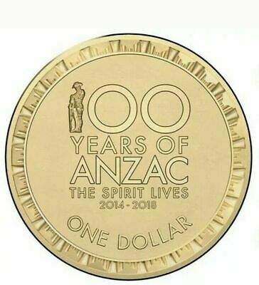 AU6.99 • Buy 2018 Australian One Dollar $1 Coin - ANZAC 100 YEARS - UNC Ex RAM Mint Bag Rare