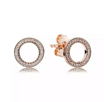 AU22.95 • Buy S925 Rose Gold Sparkling Circle Stud Earrings By Pandora's Queen