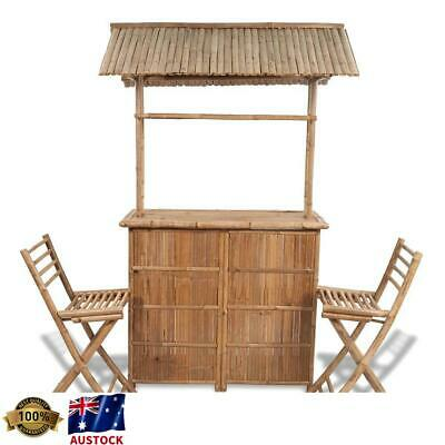 AU669 • Buy Outdoor Bamboo Bar Setting 3 Piece - Home Patio & Garden Furnitures Bistro Set