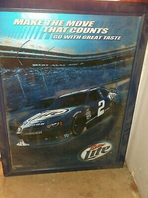 $29.99 • Buy LARGE WOOD FRAMED MILLER LITE RACING #2 RUSTY WALLACE PICTURE 36 X28