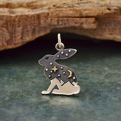 £35.99 • Buy 925 Sterling Silver Hare Rabbit Charm Pendant Necklace Bunny Star Moon Sky 6237