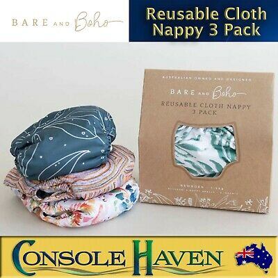 AU69.90 • Buy Bare And Boho: Reusable Cloth Nappy / Nappies 3 Pack Shells & Inserts 4-18kg