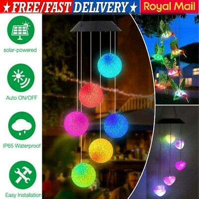 Solar Powered Led Color Changing Wind Chime Light Outdoor Garden Tree Decor Xmas • 7.50£