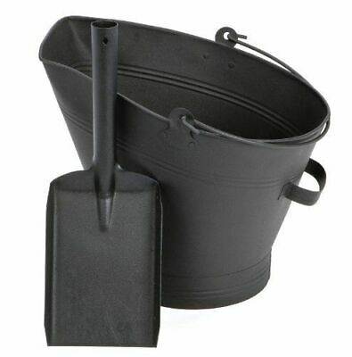 Black Steel Bucket Shovel Waterloo Coal Ash Fire Log Scuttle Hod Fireplace • 13.89£