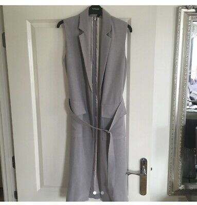 £9 • Buy Topshop UK 6 (fits 6-10) Fitted Sleeveless Grey Tailored Jacket With Belt