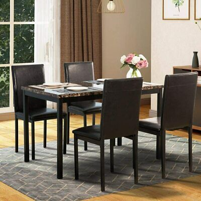 Metal Dining Table Set With 4 Chairs, Elegant Faux Marble Top Dining Table And • 287.82£