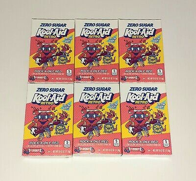 6 BOXES Kool Aid Zero Sugar RETRO ROCK-A-DILE RED On The Go Drink Mix LIMITED ED • 21.23£