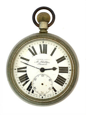 Antique Swiss Railway Lever Goliath Pocket Watch Likely Tavannes Cyma • 155.69£
