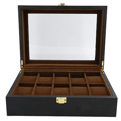 $ CDN35.48 • Buy 10 Slots Grids Watch Box Wooden Display Case Organizer Wristwatch Storage Box