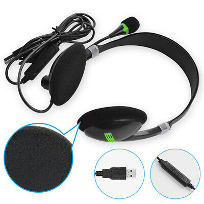 USB Headset With Noise Cancelling Mic Chat Lightweight For PC Laptop Call Center • 5.39£