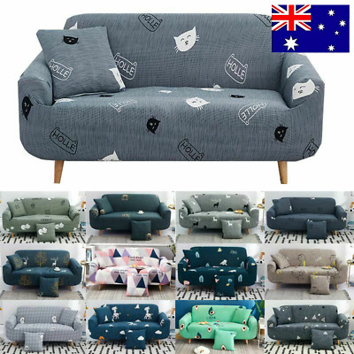 AU10.68 • Buy Sofa Covers 1/2/3/4 Seater High Stretch Lounge Slipcover Protector Couch Cover