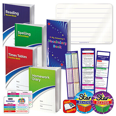 Home School Childrens Education Pack Record Books, Prompt Cards, Stickers + More • 9.49£