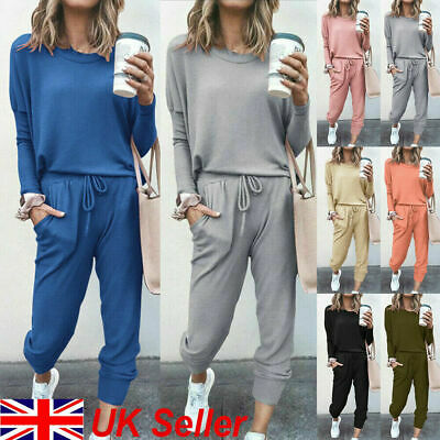 Womens Ladies Long Sleeve Plain Lounge Wear Set Casual Comfy Two Piece Tracksuit • 12.99£
