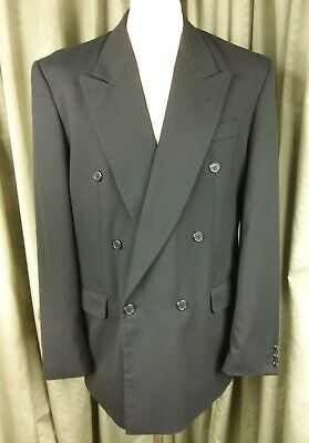 £45 • Buy Horne Brothers Double Breasted Dark Grey Wool Mix Suit C40L W34 L31