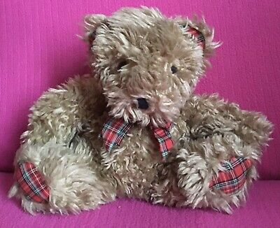 """£3.99 • Buy Old Brown Shaggy Scottish Teddy Bear With Tartan Ears/Paws/Bow Soft Plush Toy 8"""""""