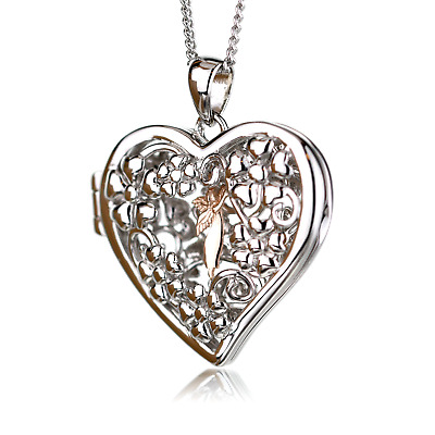 Clogau Pendant Welsh Rose 9ct Gold Sterling Silver Large Fairy Locket  18  Chain • 99£