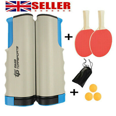 Retractable Table Tennis Set Kit Ping Pong Portable Net Games Rackets+3 Balls • 11.95£
