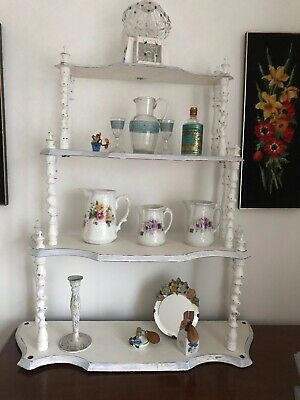 Victorian  Whatnot, Annie Sloan Chalk Distressed Paint Vintage Display Shelves, • 35£