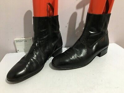 Bally Suisse Genuine Leather Ankle Chelsea Black Size 8.5 Mens Boots Shoes Zip • 6£