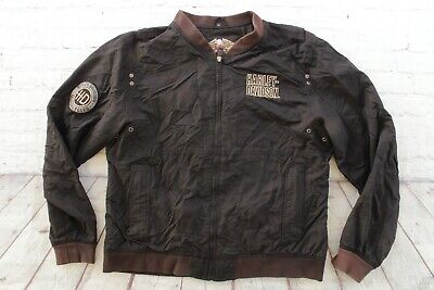 $ CDN76.12 • Buy Mens HARLEY DAVIDSON Black Embroidered Mesh Lined Zip Motorcycle Jacket Large