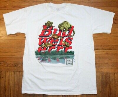 $ CDN34.45 • Buy 1998 Budweiser Beer Frogs Shirt Mens XL Graphic Vintage Beer Lager USA Wild Oats