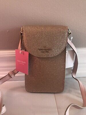 $ CDN74 • Buy NWT KATE SPADE Joeley Rose Gold North South Phone Crossbody Bag Glitter Purse