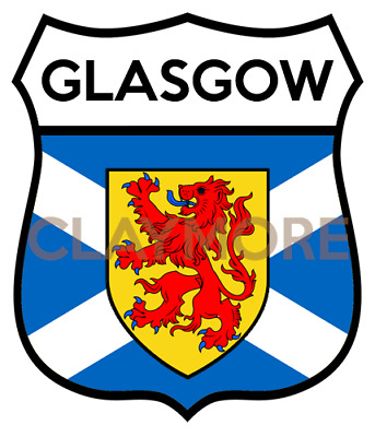 GLASGOW Motorcycle Sticker Classic Car Bike Helmet Scotland Highlands • 2.50£