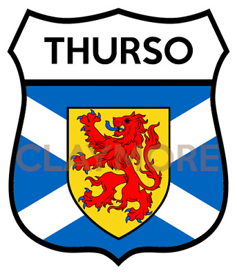 THURSO Motorcycle Sticker Classic Car Bike Helmet Scotland Highlands • 2.50£