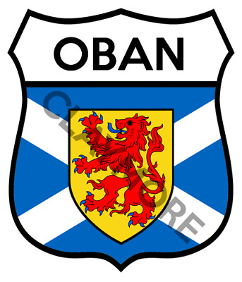 OBAN Motorcycle Sticker Classic Car Bike Helmet Scotland Highlands • 2.50£