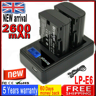 2X Battery +Dual Charger For Canon LP-E6 LP-E6N EOS 70D 7D 60D 5D Mark II III AS • 19.99£