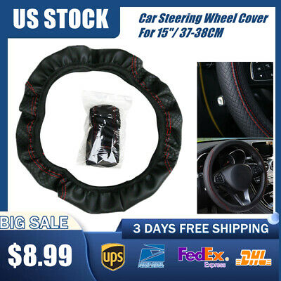 $8.99 • Buy 1x Black Car Steering Wheel Cover Leather Breathable Anti-slip Car Accessories