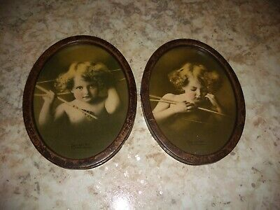 $30 • Buy Antique Cupid Awake & Asleep Oval Tin Twin Framed Pictures M B PARKINSON 1897