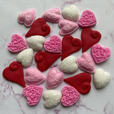 24 Edible RED & PINK VALENTINE Hearts Fondant Cupcake Toppers,wedding, • 6.95£