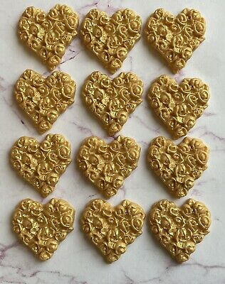 12 Edible Gold VALENTINE Hearts Fondant Cupcake Toppers,wedding, • 6.95£