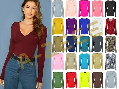Women's Ladies Plain V Neck Long Sleeve Top Jersey Stretchy Casual T-Shirt  • 5.99£