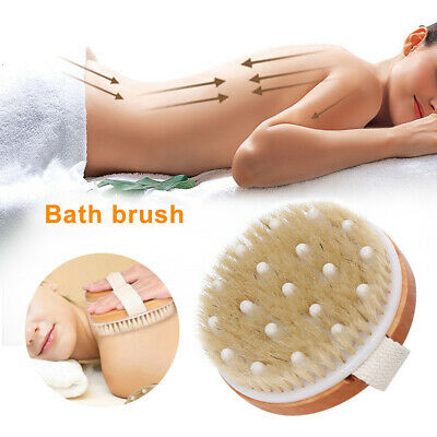 2 In 1 Dry Body Brush Natural Bristle Dead Skin Remover Massage Anti Cellulite • 5.55£