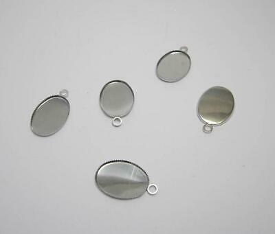 £4.95 • Buy 20 Silver Plated Oval Pendant Bezel Charms 18 X 13 Mm Cabochons Jewellery Making